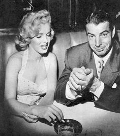 June 26th 1953: Marilyn and Joe at Chasens Restaurant.