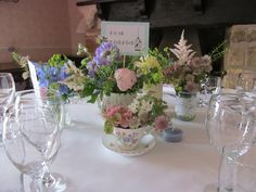 vintage china filled with flowers