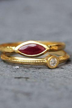 Tiny 2mm triple three stone bezel band ring ruby tourmaline two toned 14k white yellow gold
