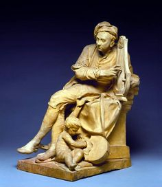 George Frideric Handel, by Louis François Roubilliac, before 1738. Terracotta model for marble statue erected in Vauxhall Gardens,1738.  The composer is seated on a plinth, plucking the strings of a lyre. He is shown in undress, wearing a night-cap and gown, and slippers, one of which has fallen off and is under his foot. A boy 'recording angel' sits at his feet taking down the notes.