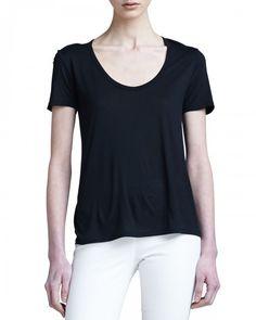 the Row Women's Short Sleeve Classic Scoop Neck Tshirt Black Black T Shirt   Shirts, Tops and Clothing