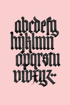 textura alphabet printblack on pinkdigitally printed on white stockavailable in worldwide shipping 2018 Gothic Lettering, Graffiti Lettering Fonts, Tattoo Lettering Fonts, Hand Lettering Alphabet, Alphabet Print, Graffiti Alphabet, Types Of Lettering, Typography Letters, Lettering Design