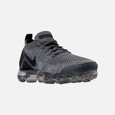 Three Quarter view of Men's Nike Air VaporMax Flyknit 2 Running Shoes in Dark Grey/White/Wolf Grey Nike Air Vapormax, Mens Nike Air, Nike Men, Nike Basketball Shoes, Running Shoes Nike, Nike Shoes, Curvy Petite Fashion, White Wolf, Sneaker Boots