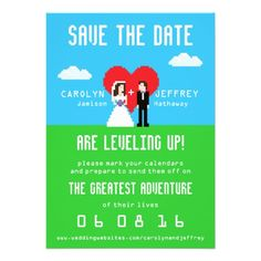 Adorably Nerdy 8-Bit Save the Date Invite  ♥  Repinned by Annie @ www.perfectpostage.com