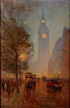 Ernest Llewellyn Hampshire 1882–1944: Twilight, Thames Embankment, 1926