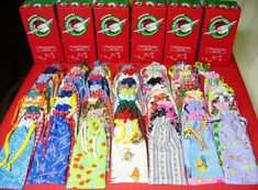 Fifty sewn pencil pouches for Operation Christmas Child shoeboxes packing party.