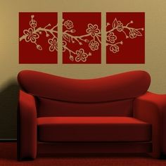 Cherry Blossom Branch Tiles, vinyl wall art decal.