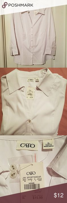 "💖NWT💖Sporty Button Down Top💖Size XL 💕Tried on but Never Worn💕Sporty white button down is 95% polyester and 5% spandex. Size XL. Bust approx 46"" Cato Tops Button Down Shirts"