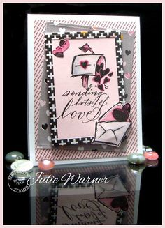 Mailbox w Hearts Valentine card - Julie Warner for Serendipity Stamps