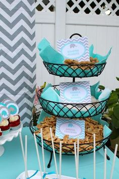 tiered food display for a baby shower