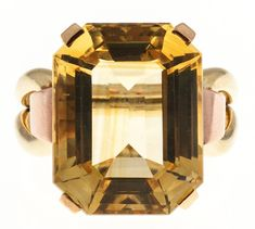 Women's Retro Yellow Citrine Pink Green Gold Ring For Sale