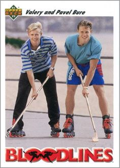Valeri and Pavel Bure, awesome hockey card Hockey Pictures, Hockey Boards, Goalie Mask, Florida Panthers, Vancouver Canucks, New York Rangers, Montreal Canadiens, World Of Sports, Hockey Players