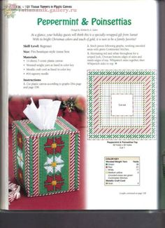 Peppermint and Poinsettias tissue box cover Plastic Canvas Books, Plastic Canvas Tissue Boxes, Plastic Canvas Christmas, Plastic Canvas Crafts, Plastic Canvas Patterns, Tissue Box Holder, Tissue Box Covers, Christmas Crafts Sewing, Christmas Patterns