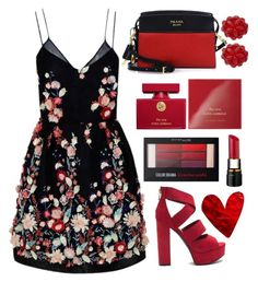 """"""""""" by sarate ❤ liked on Polyvore featuring The 2nd Skin Co., Prada, Simone Rocha, Dolce&Gabbana, Edie Parker and Maybelline"""