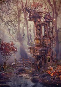 Gnomish treehouse #FantasyLandscape