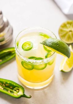 Skinny Spicy Jalapeno Margarita in a glass