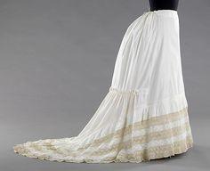 Petticoat Date: ca. 1885 Culture: American Medium: cotton, linen Dimensions: Length at CB: 66 in. (167.6 cm)