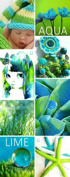 Color palette and creative inspiration. Aqua and green Colour Pallette, Colour Schemes, Color Trends, Color Patterns, Color Combos, Blue And Green, Color Collage, Mood Colors, Color Me Beautiful