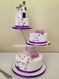 Separator stand 3 tier wedding cake, Bride and Groom topper was made by a friend of the Bride