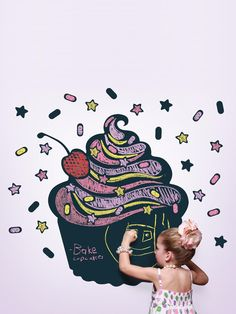 A giant chalkboard cupcake wall decal - this is adorable! This would be cute in your kitchen for your menus or whatever