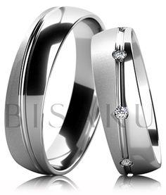 B54 Snubní prsteny z bílého zlata v kombinaci lesku a saténového matu s lesklou…