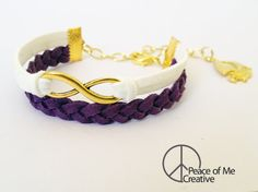 Simple Infinity Bracelet in White and Purple {Gold Sailboat Charm}