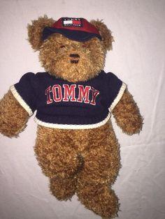 "Tommy Hilfiger Cute Brown Teddy Bear 16"" Wearing Sweater Baseball Cap Plush   eBay"