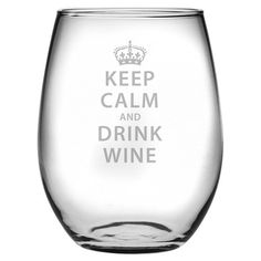 Set of four stemless wine glasses with sand-etched typographic details. Made in the USA.   Product: Set of 4 wine glasses