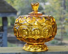 Covered Bowl Amber Candy Dish Very Large Vintage Bowl with Lid Amber Glass Retro 1960 1970 Vintage Bowls, Vintage Glassware, Vintage Colors, Vintage Love, Cut Glass, Glass Art, Viking Glass, Vintage Candy, Carnival Glass