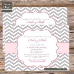 Bridal shower invitation Chevron Any Colors Modern  by paperclever