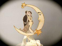 DIY Art Deco Wedding Decor Wedding Cake Topper High | Etsy Rose Vintage, Vintage Theme, Vintage Romance, Old Hollywood Decor, Hollywood Glamour, Art Deco Wedding Decor, Wedding Cake Toppers, Wedding Cakes, Moon Wedding