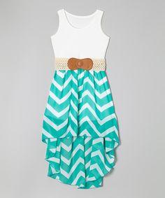 Jade Zigzag Belted Hi-Low Dress - Girls by Maya Fashion #zulily #zulilyfinds