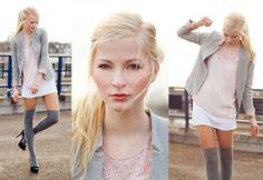 Joana ♡ - Promod Blazer, H&M Bluse, H&M Longtop, C&A Kniestrümpfe, Zara Pumps, Flohmarkt Armreif - Odernichtoderdoch | LOOKBOOK