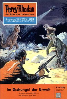 """Perry Rhodan - No. 24: In the Primeval Jungle - by Kurt Mahr: Cover artwork by """"Johnny"""" Bruck: Was US issue 17 and called """"The Venus Trap"""""""