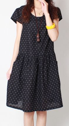 2017 new black dotted summer dresses stylish fine linen dress women casual sundress