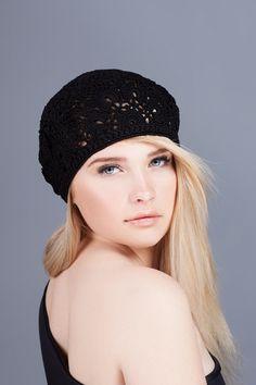 Crochet  summer women's hat beret, black crochet flower hat, lace summer hat