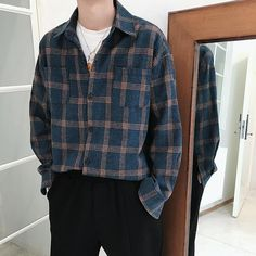 9 Impressive Street Plaid Shirt For Men's Casual Look Indie Outfits, Retro Outfits, Casual Outfits, Scene Outfits, Dress Casual, Modest Outfits, Vintage Outfits, Casual Shorts, Mode Streetwear