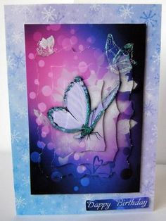 Purple Butterfly Thank You or Birthday