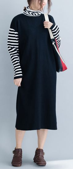 5ca6559e3ed Aesthetic black Sweater dress outfit DIY baggy knitted dress
