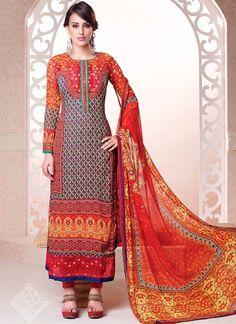 Glitzy Multi Colour Churidar Salwar Kameez | Item Code: 4862