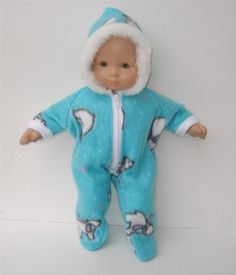 American Girl 15 inch Bitty Baby Doll Clothes Turquoise Blue polar bear snowsuit. $12.80, via Etsy.