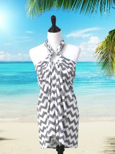 Grey Chevron Swimsuit Cover Up, Beach Dress, Sarong, Wrap, Bathing Suit Coverup via Etsy