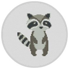 Racoon Cross Stitch Pattern for baby nursery Forest por Xrestyk