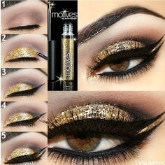 """#Classy #Gold look by ✨@LVGlamDuo✨ with our """"PAIGE"""" (top) and """"BRITTANY"""" (bottom) #lashes ✨#Pictorial✨ EYES- @motivescosmetics Step1-Crease """"Natural"""" Step2- Lid """"Gold"""" Topped with Motives glitter liner. Step3- Line with Motives Liquid liner. Step4- Glitter liner under black liner. Step5 Apply black liner under glitter ✨BROW- @kelleybakerbrows ✨Visit us at www.FlutterLashes.com✨ #flutterlashes"""