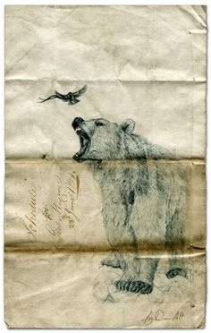 ink drawing on an antique will by Amy Dover