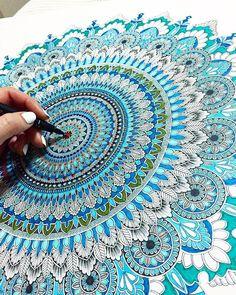 Big blue mandala details