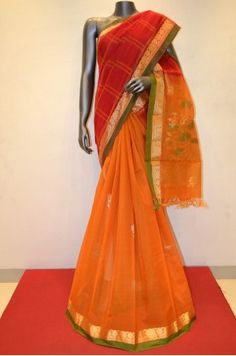 Red and Orange Hand Woven Patli Silk Cotton         Product Code: AB201719