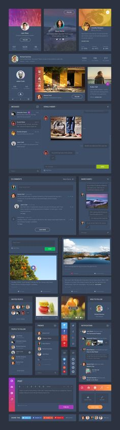 Grade UI Kit: Social Dark. #UI #UserInterface #UX #UserExperience #Photoshop #Sketch #Design #UIKit