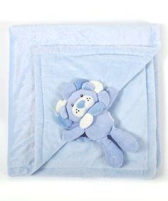 Blue Animal Friend Stroller Blanket & Plush Toy
