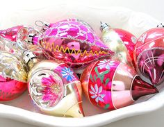 8 glass ornaments, 1960s hot pink tear drop indents with hearts & flowers.